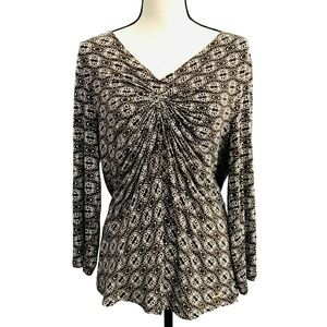 MK Michael Kors Brown Print Long Sleeve Top